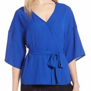 Nordstrom Halogen Faux Wrap Royal Top 1X